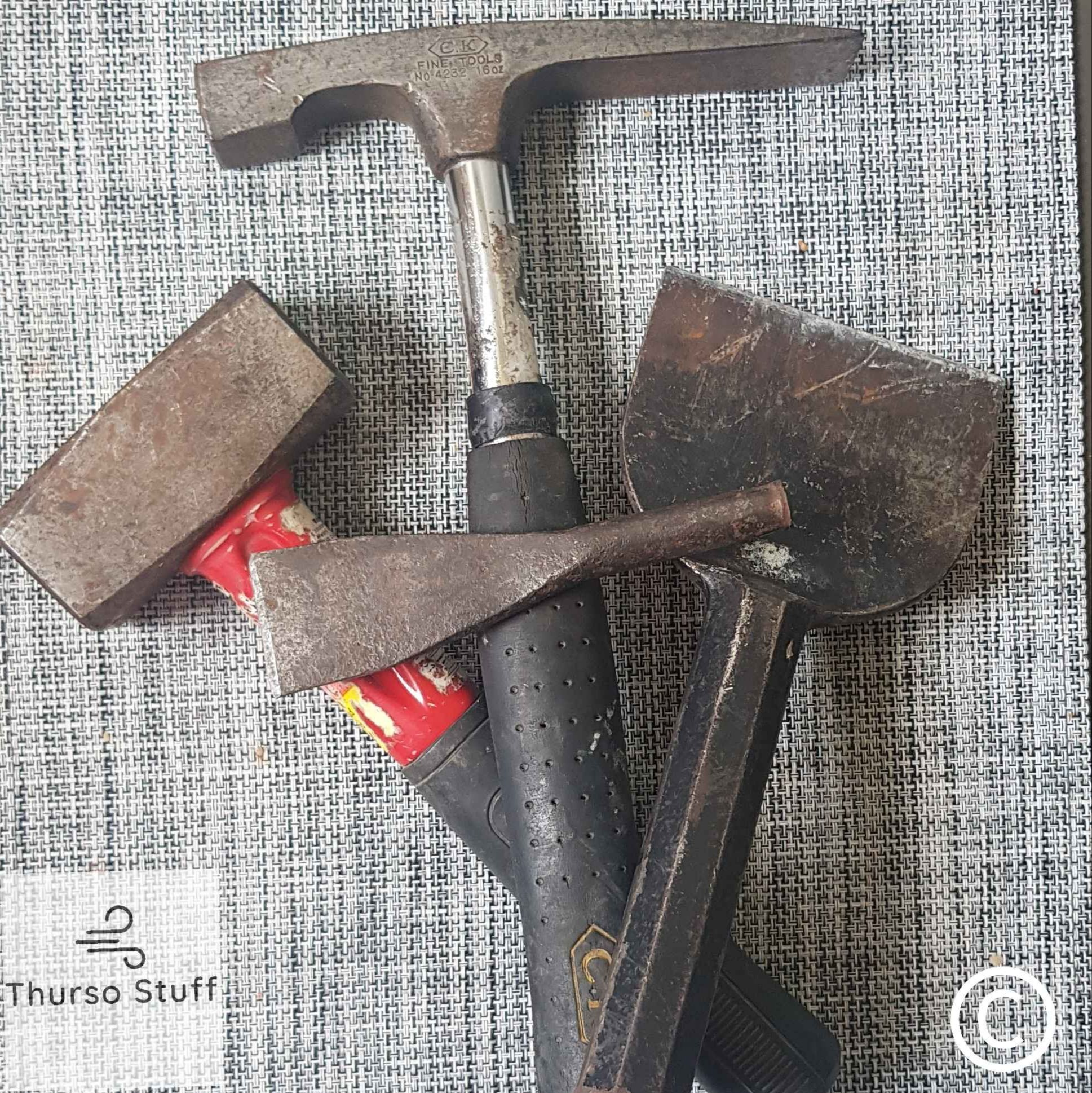 A collection of fossil hunting tools